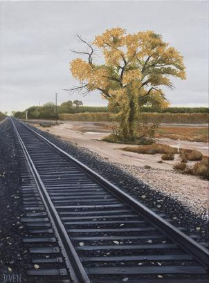 rails, railroad, track, painting, oil, realism, landscape, new, mexico, bob, diven, art