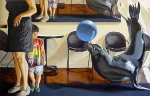 seal, kid, painting, realism, fantasy, oil, bob, diven, new, mexico, artist