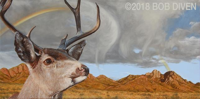mule, deer, organ, mountains, painting, realistic, oil, canvas, new mexico, omdp, organ, mountains, desert, peaks, monument, national, bob, diven